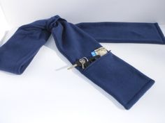 Navy Blue Fleece Scarf with Zipper Pocket for Men and Women by PURSonalPreference, $26.00
