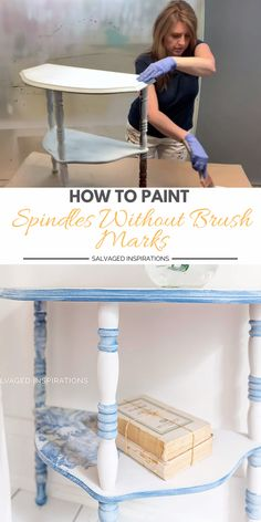 Here's how I paint my furniture spindles without any brush marks using a plain ol' paint brush! No sprayer required for a super smooth finish. You can check out all the details on salvagedinspirati… along with the full step by step tutorial. Diy Furniture Renovation, Diy Furniture Videos, Bedroom Furniture Makeover, Furniture Painting Techniques, Chalk Paint Furniture, Refurbished Furniture, Repurposed Furniture, Cheap Furniture, Diy Bedroom Decor