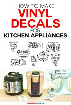 Vinyl Decals Ideas: How to Make Vinyl Decals (+ Designs for Instant Pot, KitchenAid Mixer, & Keurig!) - Jennifer Maker How to Make Vinyl Decals for Instant Pots and other Kitchen Appliances on Your Cricut. Instant Pot, Vinyle Cricut, Kitchen Aid Mixer, Kitchen Appliances, Kitchen Aid Decals, Retro Appliances, Kitchen Vinyl, Kitchen Retro, Viking Appliances