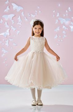 Main Image - Joan Calabrese for Mon Cheri Beaded Lace & Tulle First Communion Dress (Little Girls & Big Girls)