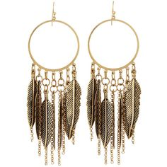 Panacea Feather-Fringe Hoop Earrings found on Polyvore featuring jewelry, earrings, accessories, brinco, feather earrings, fringe jewelry, feather hoop earrings, chain jewelry and chain earrings
