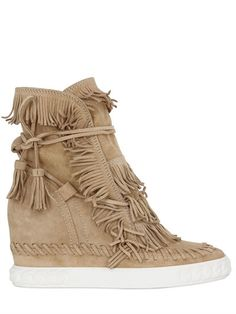 CASADEI - 80MM FRINGE SUEDE WEDGE BOOTS
