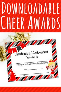 instant download cheerleading certificate cheerleading award cheerleading printable cheerleading achievement