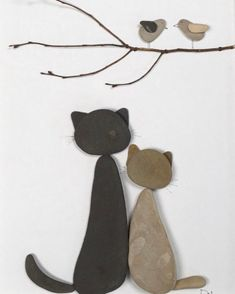 Cats Meow - Rock Art - Welcome to our website, We hope you are satisfied with the content we offer. Stone Pictures Pebble Art, Stone Art, Sea Glass Crafts, Sea Glass Art, Stone Crafts, Rock Crafts, Art Rupestre, Art Pierre, Pebble Art Family