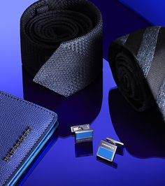 Sartorial blues from Burberry - wallets, cufflinks and striped ties in bold sapphire for A/W13