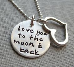 love you to the moon and back  Silver Necklace by jcjewelrydesign, $46.00