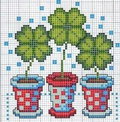 Cross-stitch 4 leaf clover ... no color chart available, just use the pattern chart as your color guide..