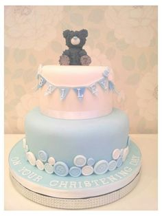 Christening cake. Love the buttons.
