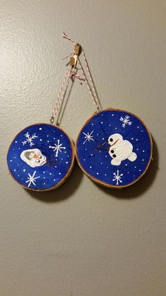 Birch Wood rustic ornaments - hand painted  - Olaf  (Frozen) by 5oh4Designs