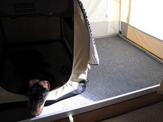 Adventures in Pop-UP GRADED Camping: That Ain't Stock #1: Misc Mods - replace mattress with indoor/outdoor carpet on unused bunk end