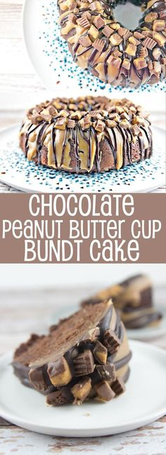 Chocolate Peanut Butter Cup Bundt Cake: dense chocolate cake covered in peanut butter and milk chocolate ganache, topped with chopped Reese's peanut butter cups. Mix by hand in two bowls for an easy, impressive dessert. {Bunsen Burner Bakery} via Chocolate Desserts, Delicious Desserts, Chocolate Ganache, Chocolate Chips, Chocolate Cheesecake, Chocolate Covered, Chocolate Chocolate, Great Desserts, Bundt Cakes
