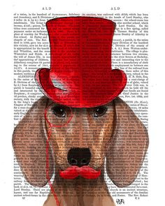 Steampunk Dachshund Red Top Hat Art Print dictionary page book art Dog Art Dog Print wall art wall decor Doxie illustration