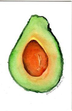 4 x 6 Original Avocado  Painting watercolor by SharonFosterArt, $8.00