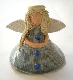 handmade pottery angels | Hand sculpted Blue ceramic angel