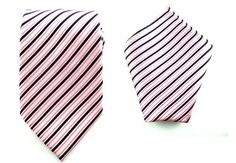 Mens Necktie Pink White Striped  8.5 CM Necktie and Pocket Square.