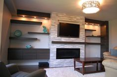 built in bookcase around fireplace modern - Google Search