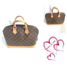 Louis Vuitton Alma PM Bag Authentic Louis Vuitton Alma Bag has lock no key no dust bag. (I had them both but lost them during my last move)! Outside has some water stains as shown in pictures on the bottom and on the strap attachments.  Inside is very clean no smells or anything. Louis Vuitton Bags