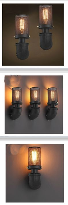 Vintage Wrought Iron Industrial Wall Lamp Bedroom Outdoor Wall Sconce Mounted Beside Reading Light for Home Decoration