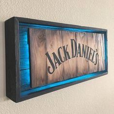 Rustic JACK DANIELS Modern Neon sign Hand Made -Hand Painted Rustic Whiskey signs. All materials are from reclaimed pallet wood Actual sign Offered in 2 different colors: Woodworking Vise, Woodworking Techniques, Woodworking Projects, Diy Wood Projects For Men, Woodworking Machinery, Woodworking Furniture, Woodworking Apron, Woodworking Store, Woodworking Workshop