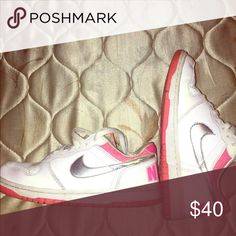 Nike Dunks Size 9 Nike white & pink dunks. In good condition ! Nike Shoes Sneakers