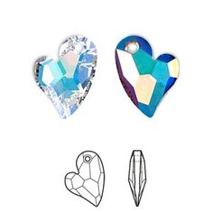 Drop, Swarovski crystal, Crystal Passions®, crystal AB, faceted Devoted 2 U Heart pendant Sold per pkg of Bead Crafts, Heart Shapes, Swarovski Crystals, Jewelry Making, Passion, Drop, Beads, Planets, Charms