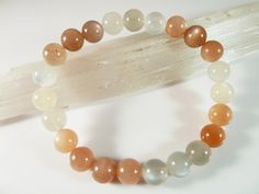 Multi Color Moonstone Stretch Bracelet 8mm Smooth Round Polished Peach Gray White Gemstone Beads Blue Silver Flash by SandiLaneFineArt on Etsy