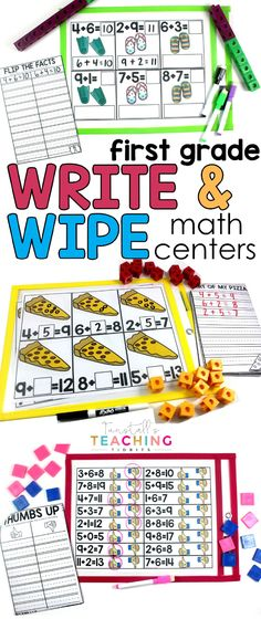 First grade Write and Wipe math Centers are designed to slip into a sheet protector/wipe off pouch for NO PREP workstations! Available in color and black & white. Students simply grab pocket sleeve, a few manipulatives, & a dry erase pen. Centers First Grade, First Grade Writing, First Grade Classroom, 1st Grade Math, Math Classroom, Math Centers, Second Grade, Classroom Ideas, Math Strategies