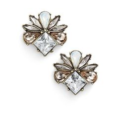 Women's Baublebar 'Tundra' Stud Earrings ($18) ❤ liked on Polyvore featuring jewelry, earrings, antique gold, art deco earrings, baublebar jewelry, cluster earrings, cluster stud earrings and vintage style jewelry