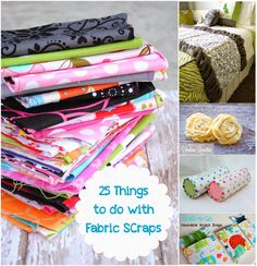 Do you have a pile of fabric scraps sitting in your house somewhere and you aren't quite sure what to do with it? Here is 25 things you can do with fabric scraps.