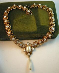 Romantic Corocraft Pearl Drop and Rhinestone Necklace
