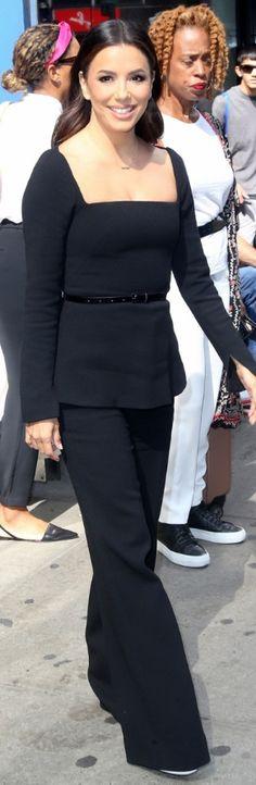 Who made Eva Longoria's black peplum top and pants? Jennifer Hudson, Jennifer Connelly, Eva Longoria Style, Pant Shirt, Pants, Black Peplum, Rachel Bilson, Lela Rose, Beyonce Knowles