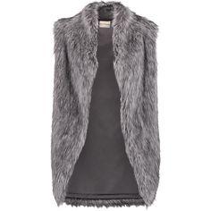 DKNY Faux fur vest (€150) ❤ liked on Polyvore featuring outerwear, vests, jackets, vest, dark gray, dkny vest, open front vest, vest waistcoat, dkny and faux fur waistcoat