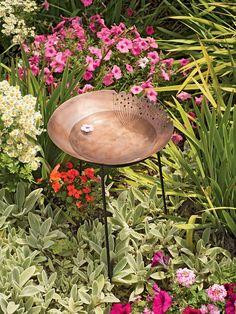 Metal Bird Bath with Queen Anne's Lace Design | Brass Bird Bath