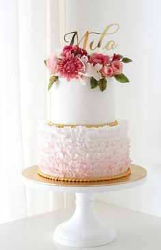 Romantic white and pink textured wedding cake; Featured Cake: Winifred Kristé Cake