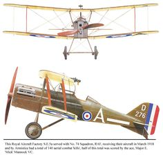 SE.5a Unit: 74 Sqn, RAF Serial: A (D276) This Royal Aircraft Factory SE.5a served with No. 74 Squadron, RAF, receiving their aircraft in Mar...