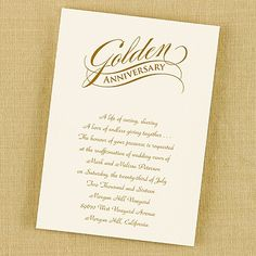 Golden anniversary with rounded scallops invitation bright white golden anniversary invitation in ecru perfect for your 50th wedding anniversary celebration http stopboris Gallery