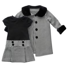 Toddler Houndstooth Dress and Coat Set >> Really cute for the Holidays.
