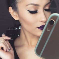 I love this color lipstick. Deep purple, but still looks like it fits. Subtly dramatic, if you will.