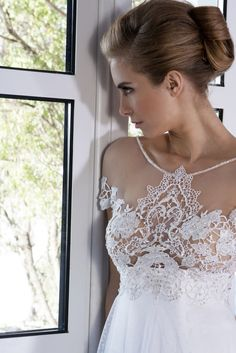 White Empire line dress with guipure lace on the bustier and handmade embroidery Lace Wedding, Wedding Dresses, Empire, Embroidery, Handmade, Collection, Fashion, Bridal Party Dresses, Hand Made