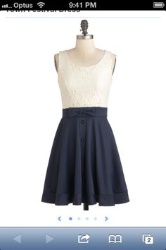 Cream lace top Navy skirt