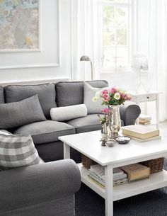 Love the look of this gray IKEA living room.