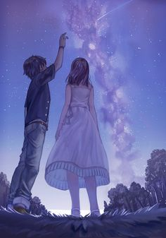 Lets look at the nigth sky anime mangas, manga anime, manga art, sky Anime Love Couple, Couple Art, Cute Anime Couples, Couple Ideas, Que Bad, Image Nice, Image Couple, Sky Anime, Art Manga
