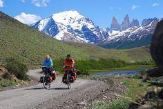 Expedition cycle touring, or bikepacking, Torres del Paine National Park, in Chilean Patagonia. Touring, Chili, Torres Del Paine National Park, In Patagonia, Cool Bicycles, Hiking Trails, Outdoor Travel, Kayaking, Adventure Travel