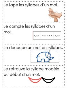 Syllables in French: different strategies for working with syllables. Un peu de . Syllables in Fre Read In French, How To Speak French, Learn French, French Language Lessons, French Lessons, French Teacher, Teaching French, English Primary School, Grade 1 Reading