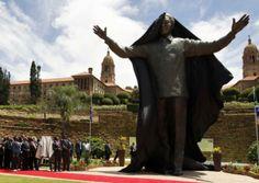 statue of Nelson Mandela unveiled in Pretoria, South Africa (Photo: Matt Dunham / AP) Nelson Mandela, Pretoria, Africa Day, South Africa, Statues, Jacob Zuma, Christ, Nbc News, Time Capsule