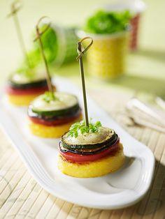 Recette de Polenta en millefeuille façon tian, idéale pour un apéritif dinatoire !