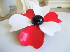 1960s Red White Black Enamel Flower Pin Brooch by resurrections, $12.97