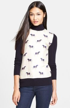 Tory Burch 'Etty' Wool & Silk Turtleneck at Nordstrom.com. A vibrant horse print hypnotizes on the soft silk front of a finely knit turtleneck sweater.