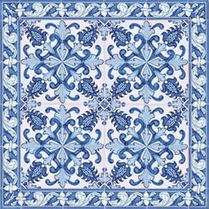 2304 Portuguese Bicesse Tiles from Portugal - Traditional decorative hand painted ceramic azulejo