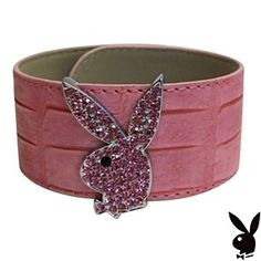 Playboy Bracelet Swarovski Crystals Bunny Pink Leather Cuff Slap Wrap Style by…